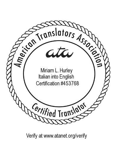 miriam hurley ata certified translator from italian to english. Black Bedroom Furniture Sets. Home Design Ideas